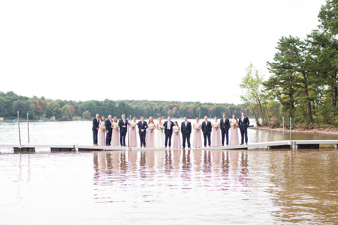 wedding party on a dock